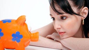 Frau Sparschwein Einkommen Geld Existenzsicherung Sparen