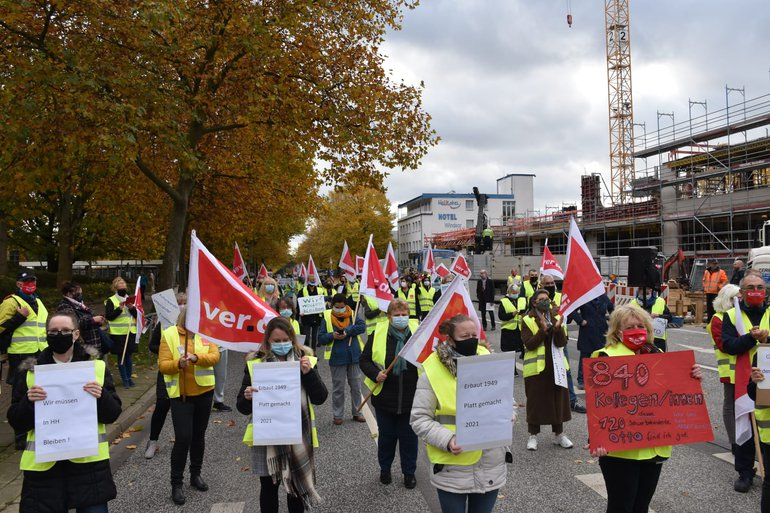OTTO: Aktion der Beschäftigten in Bramfeld